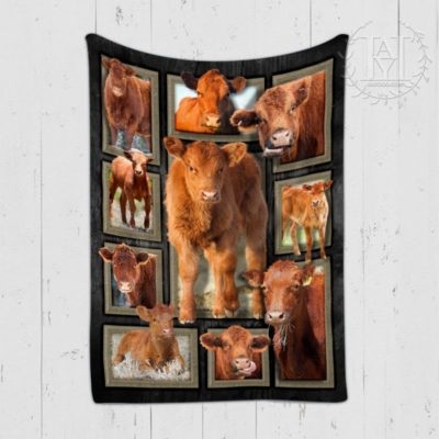 Red Angus Cattles Cow Blanket