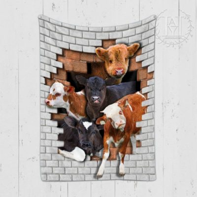 Cows From Broken Wall Blanket